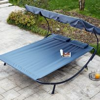 Rocambolesk - Aloha gris : transat 2 personnes avec pare-soleil en tissu Oxford
