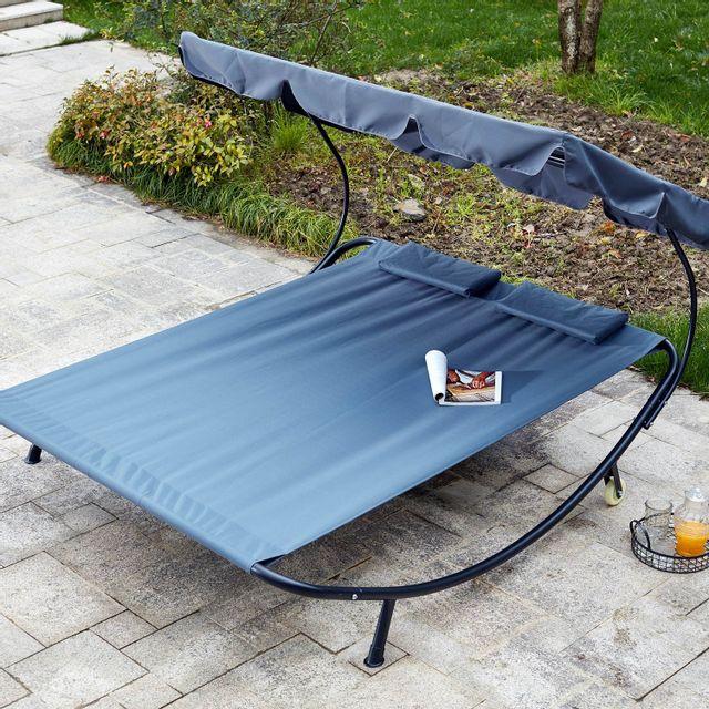 CONCEPT USINE Aloha gris : transat 2 personnes avec pare-soleil en tissu Oxford