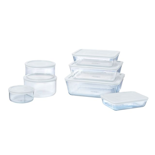 PYREX Lot de 7 boîtes de conservation en verre Cook & Freeze - Compatibles au four
