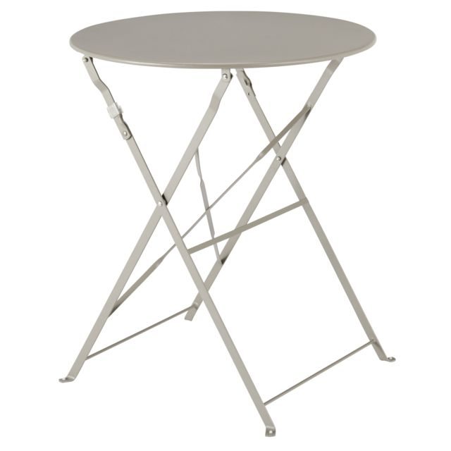 CARREFOUR Table Bistrot ronde pliante - Taupe