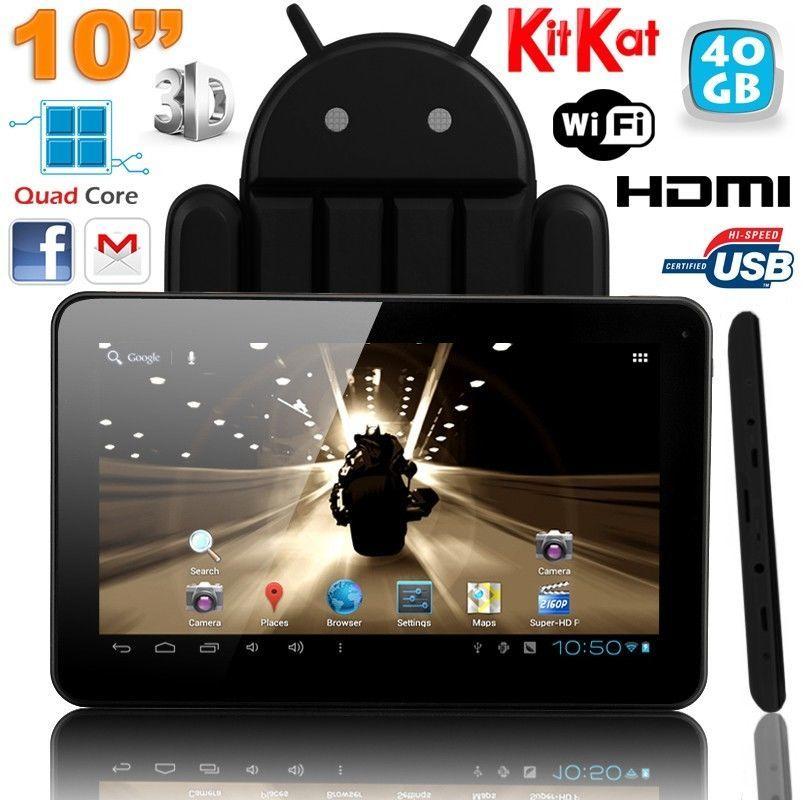 Tablette tactile 10 pouces Android 4.4 KitKat Quad Core 40 Go Noir
