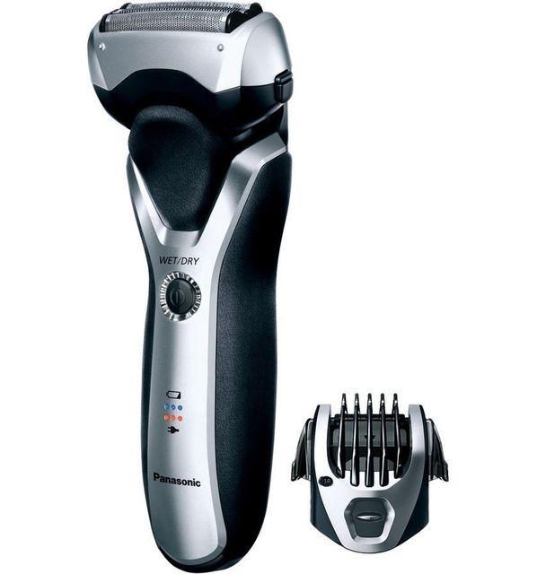 PANASONIC Rasoir électrique Wet&Dry ES-RT57-S503 Rasoir 3 lames avec accessoire barbe pur un style unique.Sa tête de rasage pivotante de haut en bas et de gauche à droite et dotée de grilles courbes épouse uniformément le