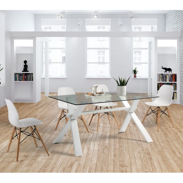 Tousmesmeubles Table de repas Verre - Ziggy - L 150 x l 90 x H 75