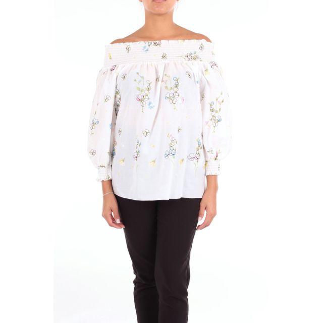 BLUGIRL Femme 7556BIANCOFANTASIA Blanc Viscose Blouse