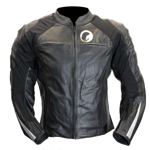Blouson moto cuir noir pas cher