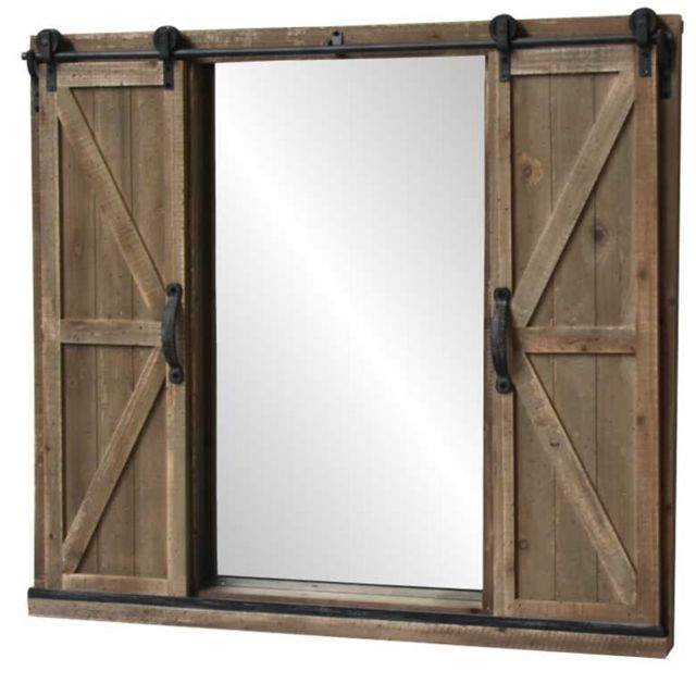Chemin De Campagne Grand Miroir à Volets Fenêtre sur Roulette Industriel Bois 100 cm x 90 cm