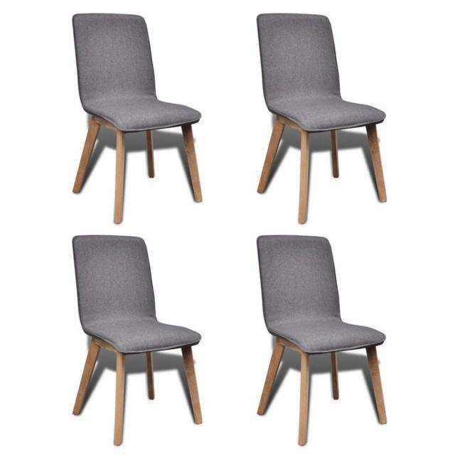 4pcs Chaises de salle à manger Gris clair Tissu et chêne massif