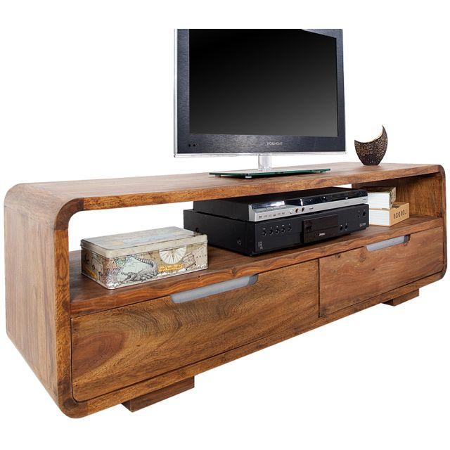 Comforium Meuble tv design en bois massif coloris naturel