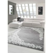 Tapis de salon contemporain, design oriental - New Florida - Gris clair -  80 X 150 cm