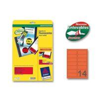 Avery - Planches d'étiquettes 99,1 x 38,1 mm 350 étiq/boîte - rouge fluo