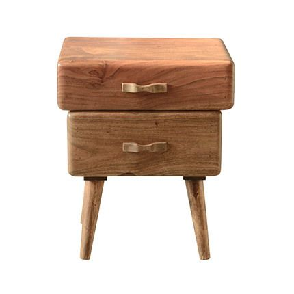 Table appoint 2 tiroirs en bois acacia