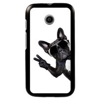 Kabiloo - Coque noire pour Motorola Moto E motif chien à lunettes sur fond blanc
