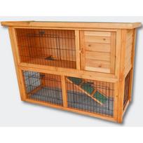 Bigb - Clapier en bois pour lapins ou petits rongeurs 111,5 x 45 x 80 cm