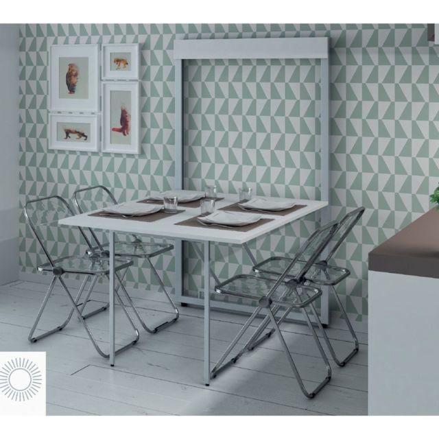 Inside 75 table basculante ouverture frontale bata coloris blanc marron 135cm x 70cm pas - Table basculante cuisine ...