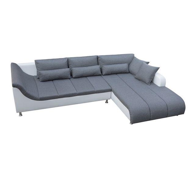 CHLOE DESIGN Canapé d'angle BIAGIO - Gris et blanc - Angle droit