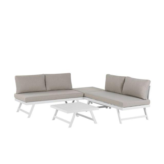 BELIANI Salon de jardin 5 places en aluminium blanc coussins taupe COCCORINO - gris foncé