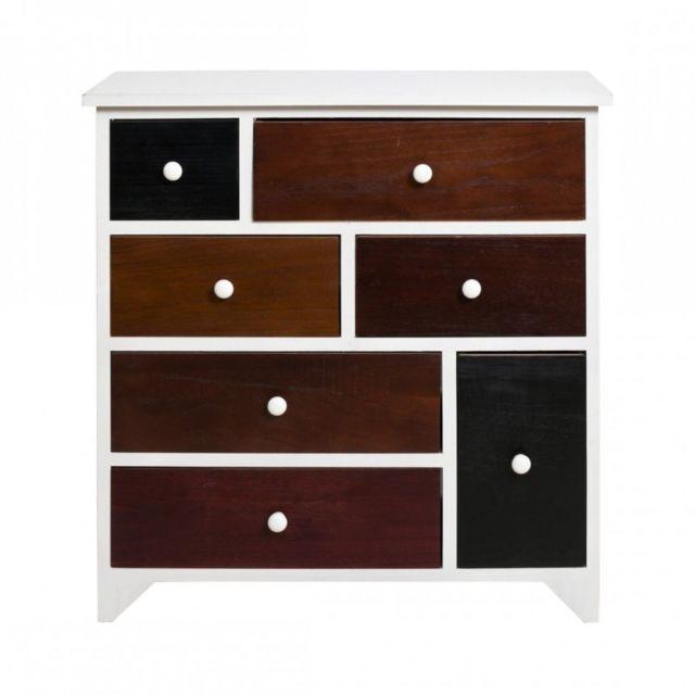 mobili rebecca chiffonier meuble de rangement 7 tiroirs bois blanc marron vintage salon chambre color