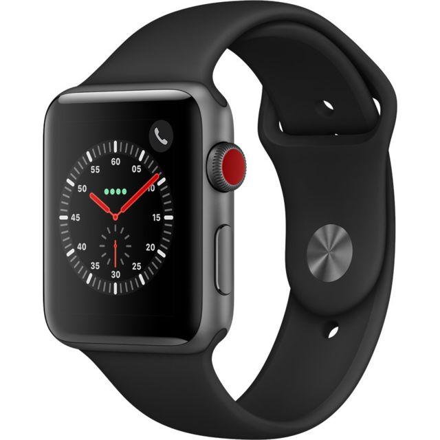 APPLE Watch 3 Cellular 42 - Alu noir / Bracelet Sport noir Siri parle - Cardiofréquencemètre - Accéléromètre - Altimètre barométrique