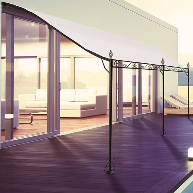 idmarket auvent pergola adoss pour terrasse gm 3 x 4 m avec toile cru ecru 3m x 4m x. Black Bedroom Furniture Sets. Home Design Ideas