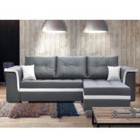Import&DIFFUSION - Canapé d'angle convertible - Blanc / Gris - Nicki