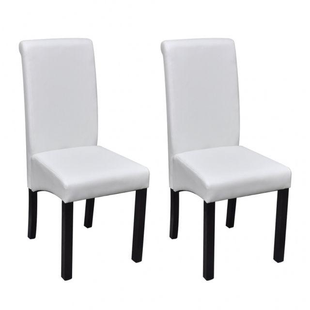 Casasmart Lot de 2 chaises en simili cuir blanc pieds noir