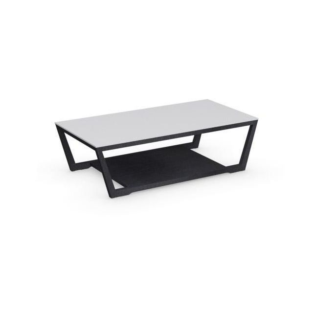 Inside 75 Table basse Element graphite avec plateau en verre blanc