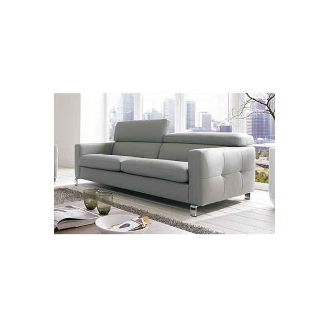 Canapé 3 places avec tétières réglables pieds métal - coloris gris