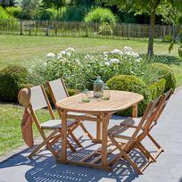 Salon de jardin en bois d'acacia et textilène