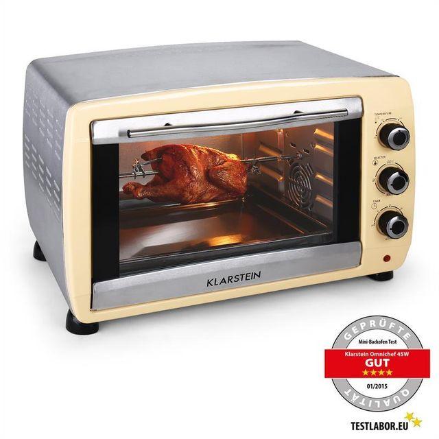 KLARSTEIN Omnichef 45C- Mini four de 45L avec grill & broche 2000w -crème