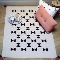 Art For Kids - Tapis Noeuds Papillon Rose chambre Fille - Couleur - Rose, Taille - 110 / 160 cm