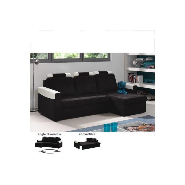Canapé d'angle réversible convertible noir et blanc Sami