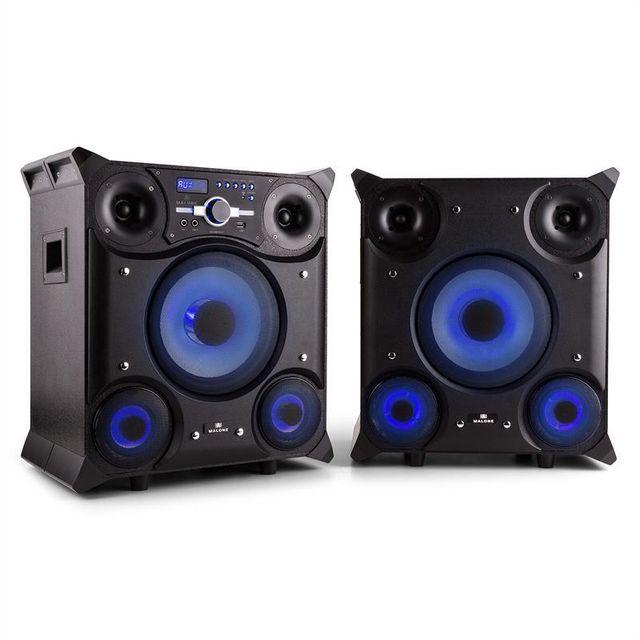 MALONE GTX-5 Système d'enceintes soirée Karaoke 800W Bluetooth USB FM Mic AUX LE