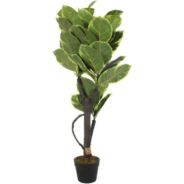 THE HOME DECO FACTORY Plante verte artificielle en pot 110 cm