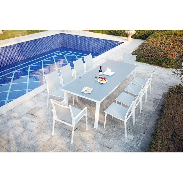 CONCEPT USINE - Moniga 10 : table de jardin extensible 10 personnes ...
