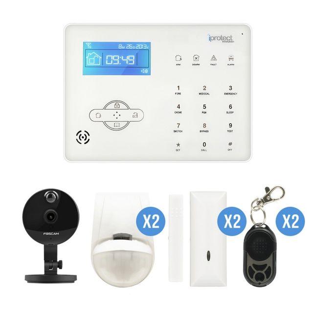 iprotect alarme maison sans fil rtc centrale tactile avec cam ra ip foscam c1 pas cher achat. Black Bedroom Furniture Sets. Home Design Ideas