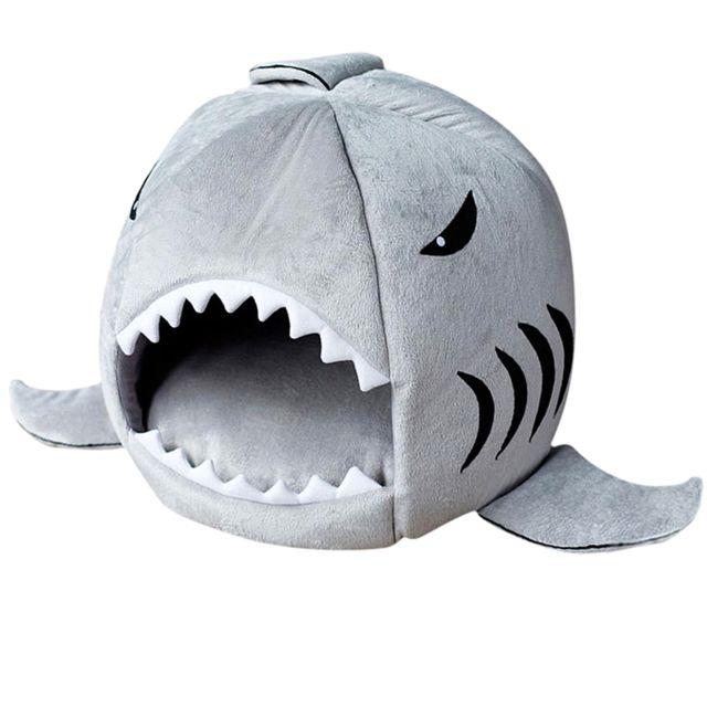 Cat Animal Lit Requin Chiot Confortable Tapis De Coussin Chaud Nidification Maison De Repos Gris M