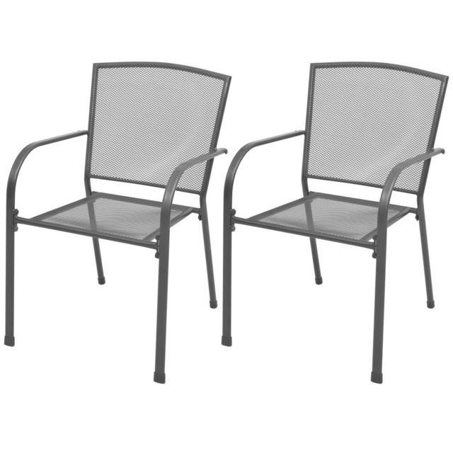 Chaise de salle à manger d'extérieur empilable 2 pcs Maille