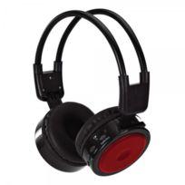 Clipsonic Technology - Casque sans fil baladeur Mp3 Radio Fm slot Sd - rechargeable - autonomie 8h -rouge