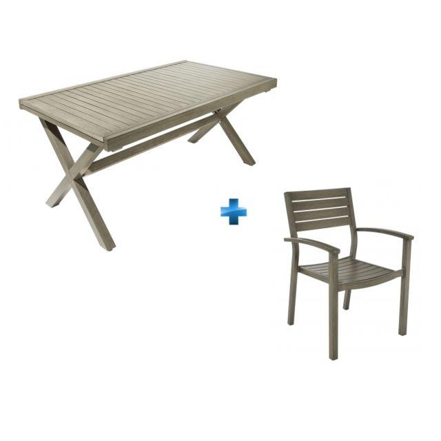 CARREFOUR - Ensemble Table extensible Honfleur + 6 Fauteuils ...
