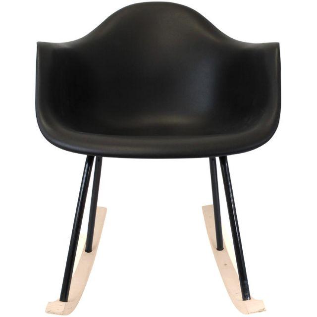 Promobo - Le 2 Fauteuils A Bascule Rocking Chair Adulte Mobilier Design Noir
