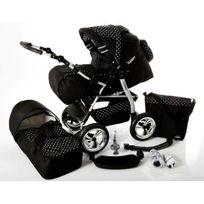 Poussette Combinée iCaddy 2en1 avec Couffin Poussette Canne Sac à langer Accessoires 01 noir & points blancs