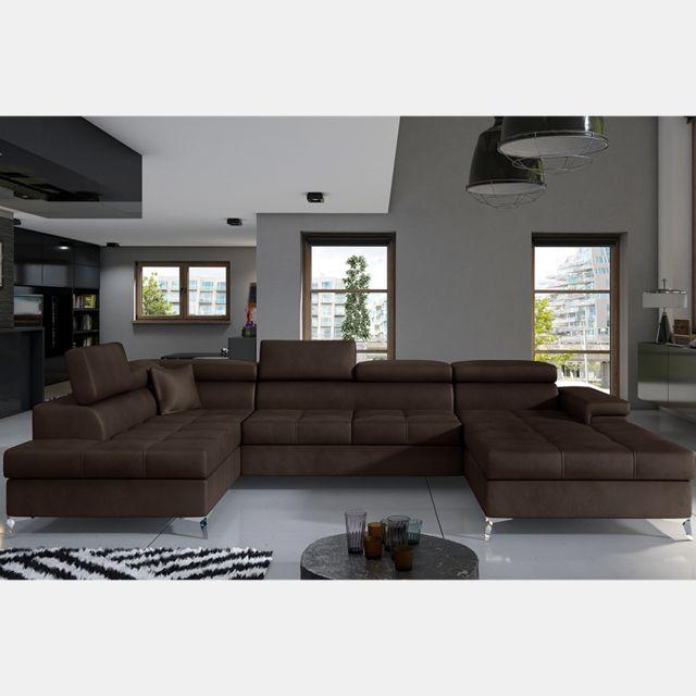 Nouvomeuble Canapé lit panoramique marron foncé Edna