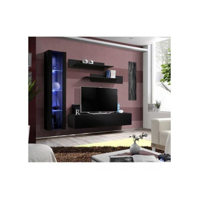 Price Factory - Meuble Tv Fly G2 design, coloris noir brillant ...