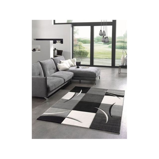 Tapis de salon moderne - Diamond - Design à carreau - Noir, gris et blanc -  80 X 150 cm