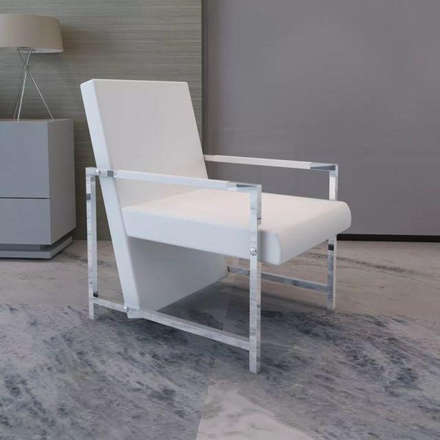 Vidaxl Fauteuil avec cadre chromée Cuir synthétique Blanc | Blanc