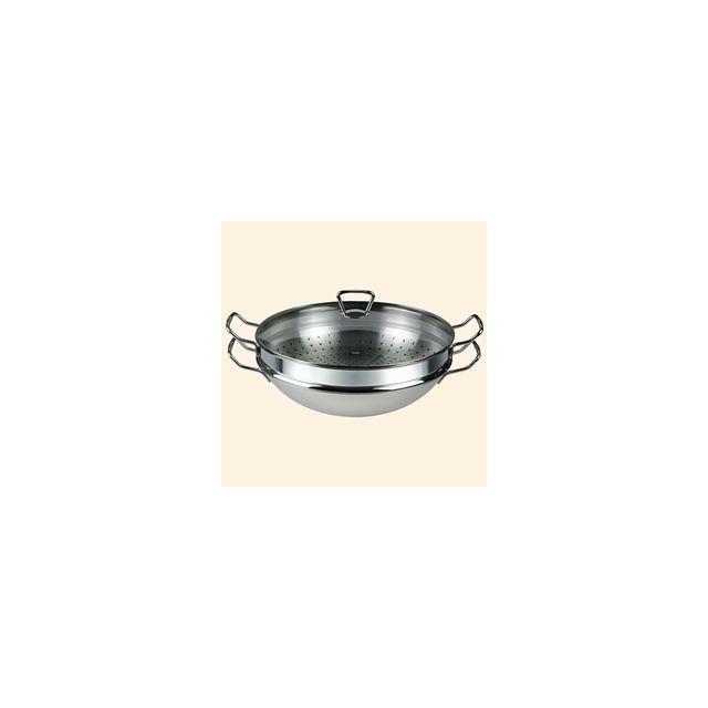 Fissler Wok Inox 35 Cm Nanjing Avec Panier Vapeur Et Couvercle Verre