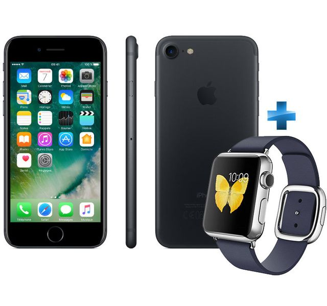 apple iphone 7 32 go mn8x2zd a noir watch 38mm acier bracelet boucle moderne bleu. Black Bedroom Furniture Sets. Home Design Ideas