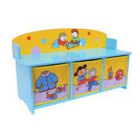T'CHOUPI - Banc avec 3 bacs de rangement - Pour chambre d'enfant