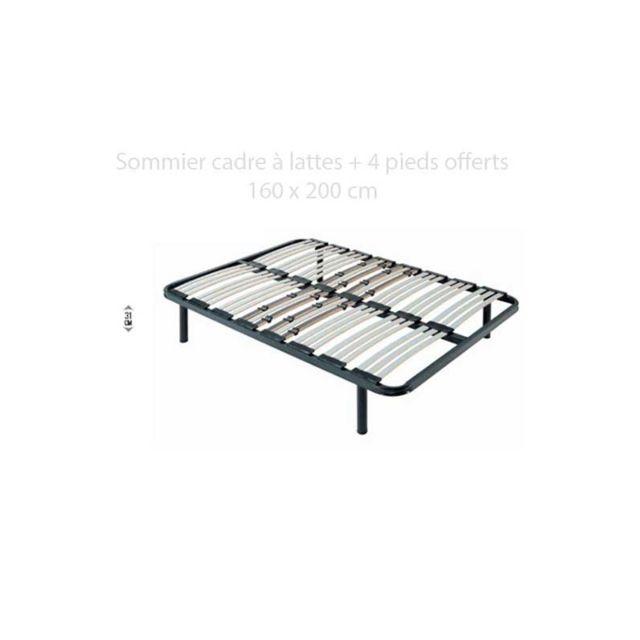 france matelas sommier cadre lattes morphologiques 160x200 cm 4 pieds offerts achat. Black Bedroom Furniture Sets. Home Design Ideas