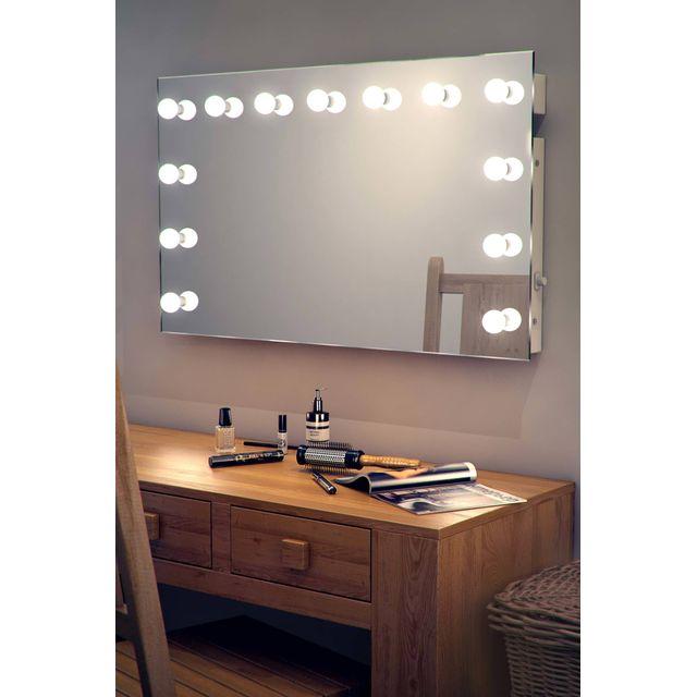 diamond x collection miroir de maquillage hollywood lampes led graduables blanches chaudes. Black Bedroom Furniture Sets. Home Design Ideas